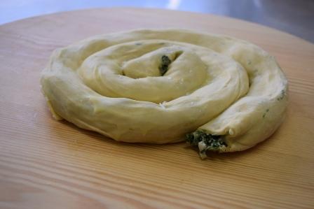 Scopelitiki spinach pie with feta cheese